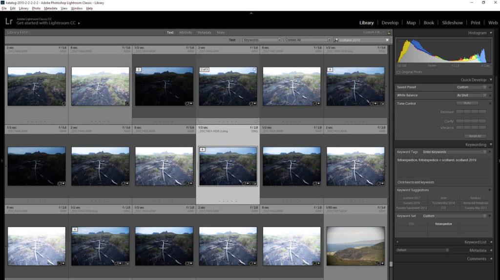 Fotoexpedice Skotsko velká hloubka ostrosti a skládaná fotografie Adobe Lightroom